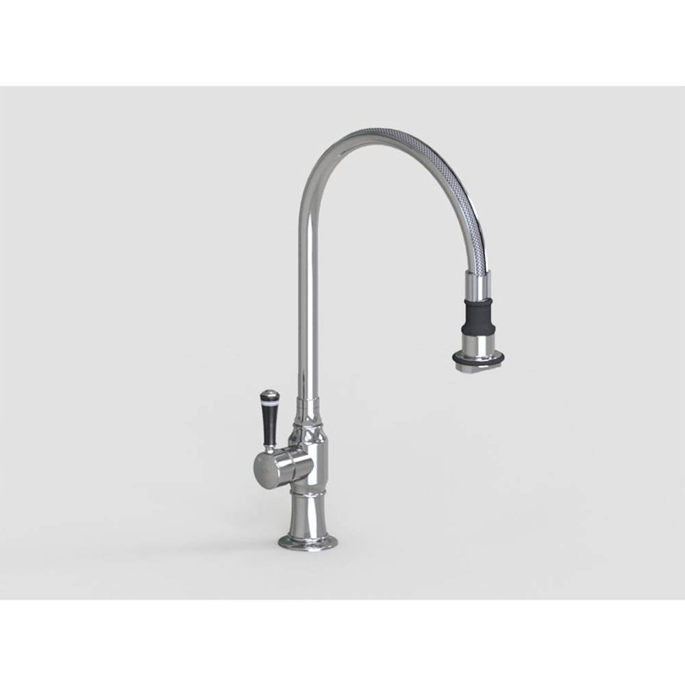 Polished Stainless Steel Jaclo 1071-BC-PSS 10 Swivel Spout Faucet with Black Contemporary Ceramic Lever